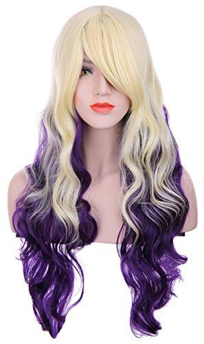 hxhome femmes Blond Mélange de 80 cm de long violet Lolita Multicolore lattes Wave Bouclés Cosplay Costume Perruques