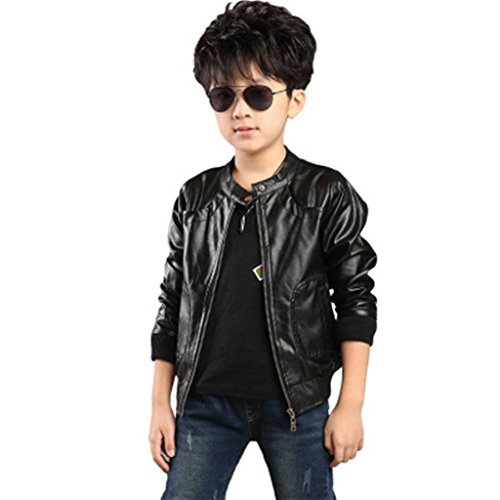 Boy's Trendy Stand Collar PU Leather Moto Jacket Leather Coat, Black, 160(11/12 yr)