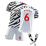 CWWAP Jersey de fútbol para niños para Hombre # 6 Pogba # 10 Rashford # 18 Fernandes Jersey, Fan Edition Soccer Jersey, Training Uniform T-Shirt Shorts Set #6-18