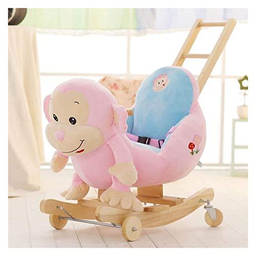 Two-in-One-Schaukelstuhl, Kinderspielzeug für 1-3 Jahre alt, dickes massives Holzpferdespielzeug, Schaukelpferd der Kinder, schaukelnden Wiege, Babyreitenspielzeug, 50x59x54cm, 9 spielzeug ab 6 monate