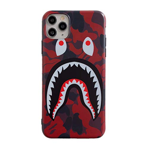 iPhone 11 Pro Max Street Fashion Shark Face Soft Case,IMD Tech Sleek Texture Anti-Scratch Ultra-Thin Shockproof Case for iPhone 11Pro Max 6.5inch (Camo Red)