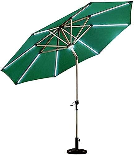H-BEI Sombrilla de jardín Sun Parasol de 2,7 m (9 pies) Sombrilla de Patio con luz Solar con manivela de Aluminio Inclinado/Base de sombrilla de Sunshine a Starlight para Pesca/jardí