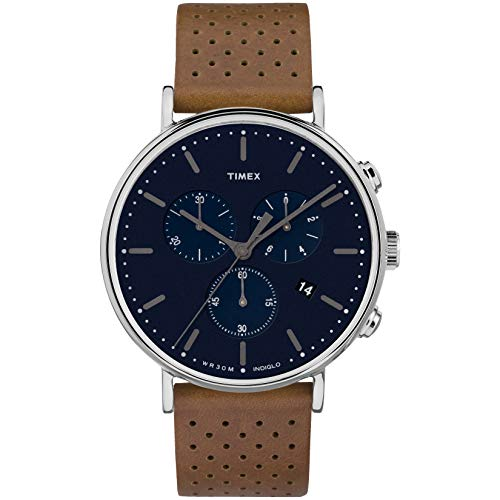 Timex Fairfield Chrono 41 mm Analog Quarz Lederband Braun 20 Casual Uhr (Modell: TWF3C8070ZA)