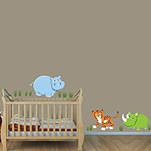 Baby Nursery/Kid Room Wall Decals (Monkey, Elephant, Hippo, Tiger, etc Designs to Choose)