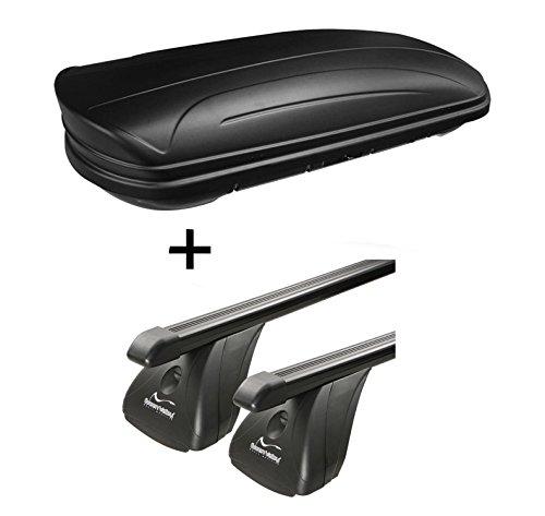 Dachbox VDPMAA320 320Ltr abschließbar schwarz matt + Stahl Dachträger Aurilis Original kompatibel mit Mercedes CLA Shooting Brake (5Türer) ab 2015