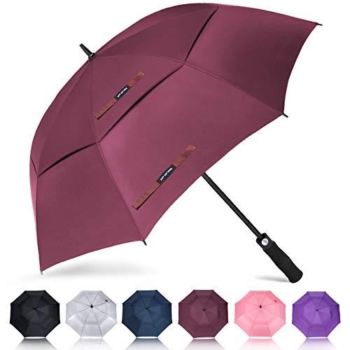ZOMAKE Golf Regenschirm, Premium Qualität, 157cm Groß, Sturmsicher, Automatik - Automatisch zu öffnen, Regen- und Windresistent Golfschirme (Dunkelrot)