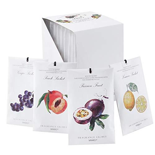 MYARO 12 Packs Fruit Scented Sachets for Drawer and Closet, Long-Lasting Sachets Bags Home Fragrance Sachet 4 Scents Option- Lemon, Grape, Peach, Passion Fruit…