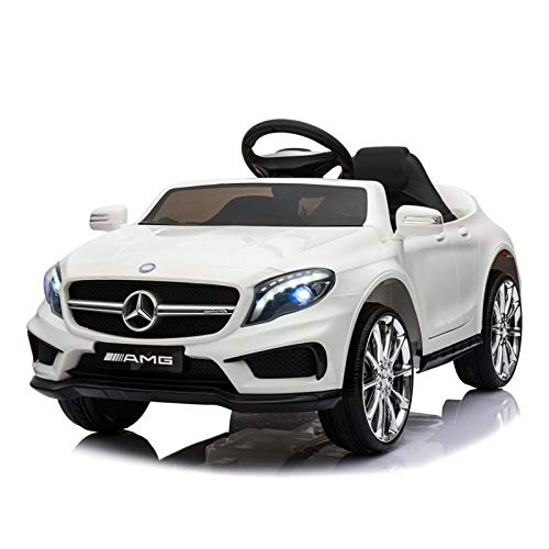 Mondeer Licensed Mercedes-Benz AMG GLA 45 Electric Ride On Car for Kids 12V Remote Control, Battery Powered, LED Lights, Music (White)