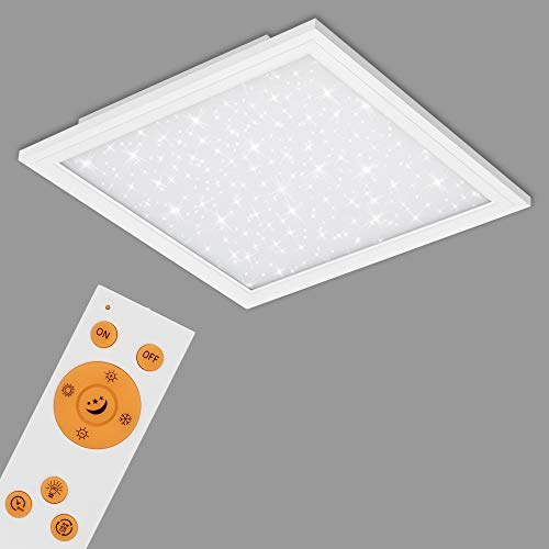 Preisvergleich Produktbild Briloner Leuchten - LED Panel,  Deckenlampe inkl. Sternendekor,  Deckenleuchte dimmbar,  Farbtemperatursteuerung (CCT),  inkl. Fernbedienung,  36 Watt,  3.800 Lumen,  Weiß,  596x596x60mm (LxBxH),  7303-016