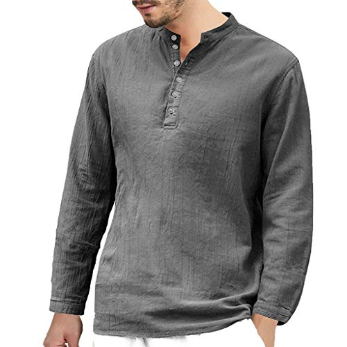 DNOQN Coole Shirts Herren Langarmshirt Herren Baggy Baumwolle Leinen Langarm Knopf Retro V-Ausschnitt T Shirts Tops Bluse XXL