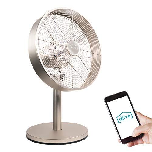 djive Flowmate Classic - Ventilador de mesa de 50 cm con aplicación y control por voz Alexa, ventilador de pie Smart Home con mando a distancia, temporizador, oscilación de 80°, 35 W, Plateado