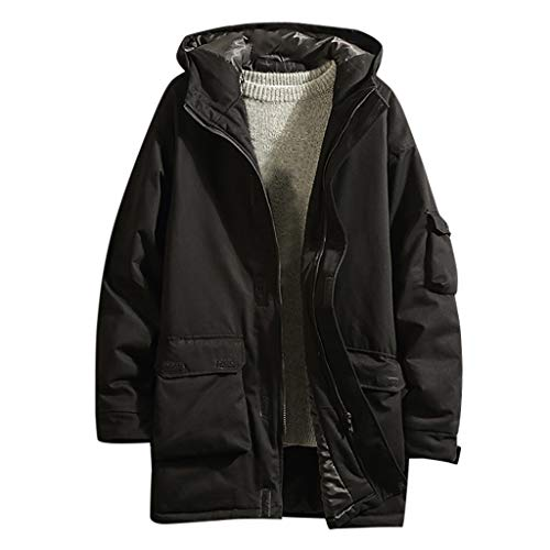 serliy😛Herren Parka Lange Winterjacke mit Kapuze Herbst Winter Outwear Mittellange Kapuze Verdickt Mehrfach Mantel Werkzeugmantel Oversize Jacke