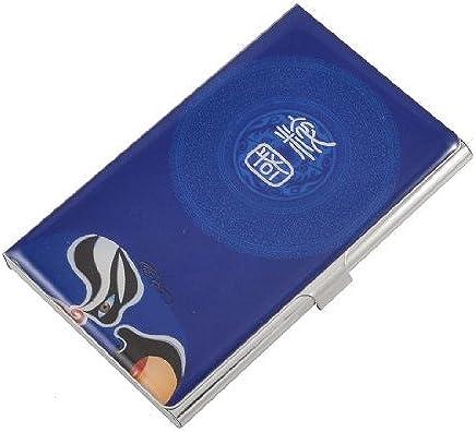 DealMux Peking-Oper-Maske Muster Rechteck Kredit Namen ID-Kartenhalter Box Royal Blue