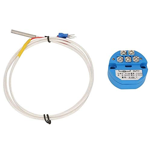 Broco Temperatur-Messumformer, -50~400 Grad PT100 Temperaturtransmitter DC24V Ausgang 4-20mA + 1M Sensor