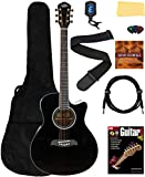 Oscar Schmidt OA10CE Mini Auditorium Acoustic-Electric Cutaway Guitar Bundle w/Gig Bag, Gearlux Cable, Tuner, Strap, Picks, Instructional Book, DVD, and Austin Bazaar Polishing Cloth - Black