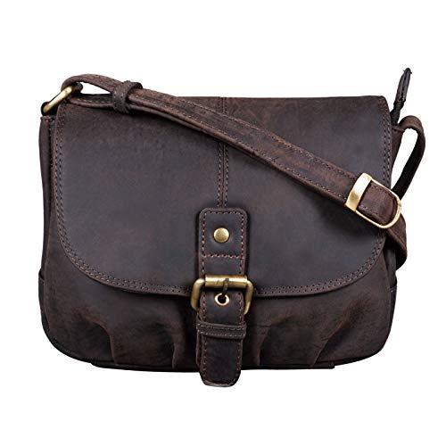 STILORD 'Iris' Leder Handtasche Damen klein Vintage Umhängetasche zum Ausgehen Klassische Abendtasche Partytasche Freizeittasche Echtleder, Farbe:dunkel - braun