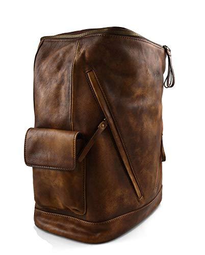 41n7oQAk69L - Mochila de piel vintage mochila piel lavada mochila marrón hombre mujer mochila viaje mochila de cuero mochila sport…