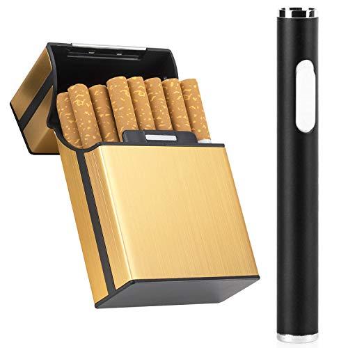 LUWANZ LUWANZ Elektro Feuerzeug USB elektrisches Feuerzeug aus Metall, wiederaufladbares windfestes edles Minifeuerzeug (Schwarz) Schwarz