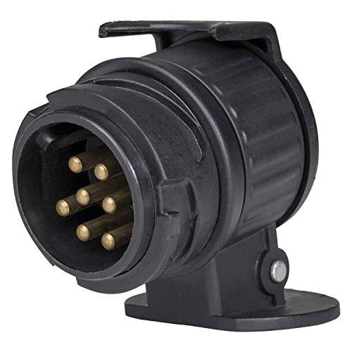 as - Schwabe universele mini-adapter – 12 V camping aanhanger stekker – verbinding 13-polige autostopcontact en 7-polige caravanstekker – auto-accessoires – IP44 – Made in EU – zwart I 60439