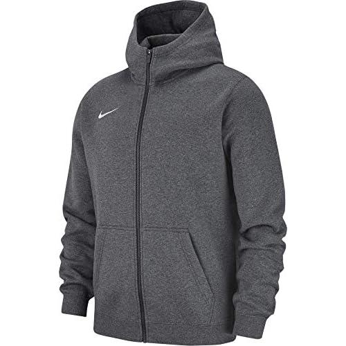 Nike Club19 Full-Zip, Felpa con Cappuccio Unisex Bambini, Charcoal Heathr/Anthracite White, XL