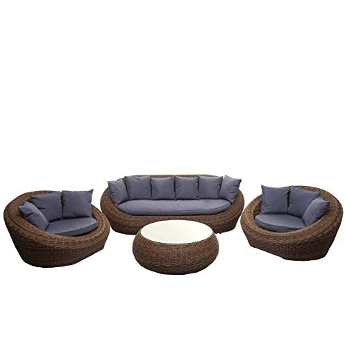 Mendler 4-1-1 Poly Rattan Garnitur HWC-F88, Lounge-Set Sofa, halbrundes Rattan Alu-Gestell oval ~ braun, Kissen dunkelgrau