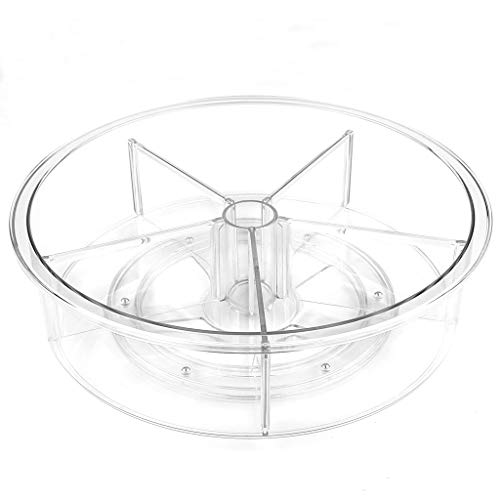 Kowoma Lazy Susan Cabinet Organizer 12 inch Clear Lazy Susan Turntable with Dividers for Kitchen Spice Pantry Fridge Cupboard Organizing