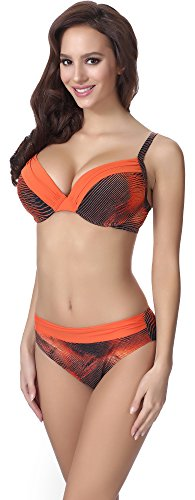Feba Damen Push Up Bikini F21 (Muster-315, Cup 70D / Unterteil 36)