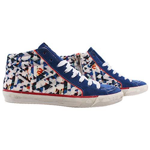 Serafini Herren Schuhe Sneakers Sport Caracas 3D Blue Blau Mehrfarbig Multicolor
