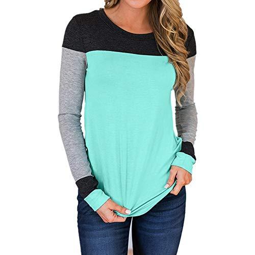 SHOBDW Sudadera para Mujer de la Moda Cuello Redondo Color Block Patchwork Otoño Invierno Tops de Manga Larga Camiseta Daily Blouse(Azul,S)