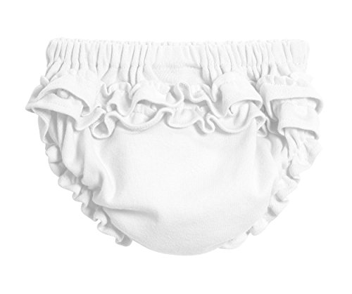 City Threads Baby Girls' Ruffled Diaper Covers Bloomers Soft Cotton Fashionable Cute SPD sensory Sensity Clothing White, 3T