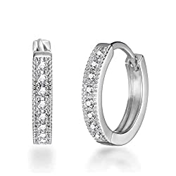 Made with Trust. Silver Silver 20mm Hoop Earrings with Crystals from Swarovski by Philip Jones. Buy with confidence with our 1-year guarantee and receive your money back if you are not 100% happy with your earrings. Our free delivery and fast dispatc...