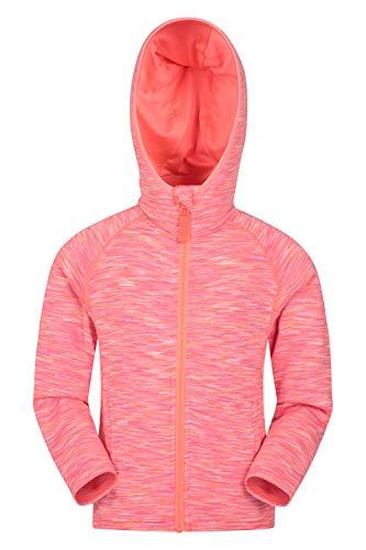 Mountain Warehouse Kayleigh gestreifte Mädchen-Kapuzenjacke - gefütterte Kapuzenjacke, Warmer Pullover, Fronttaschen, Reißverschluss Rosa 140 (9-10 Jahre)