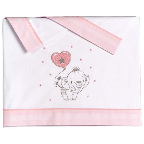 Pekebaby ELEFANTINO ROSA - Tríptico sábanas algodón minicuna (50 x 80 cm)