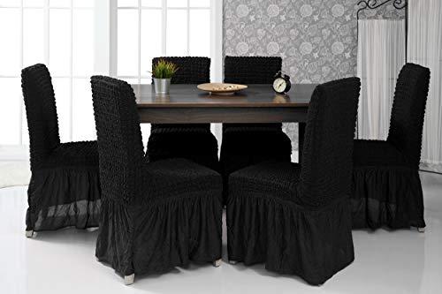 Mixibaby Lange Stretch Stuhlhusse Stuhlbezug Elastische Husse Dekoration Stuhl Husse aus Elastik-Stoff für universelle Passform, Farbe:Schwarz