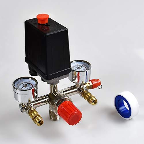 Juego de manómetros del regulador de la válvula de control del interruptor de la válvula de presión del compresor de aire