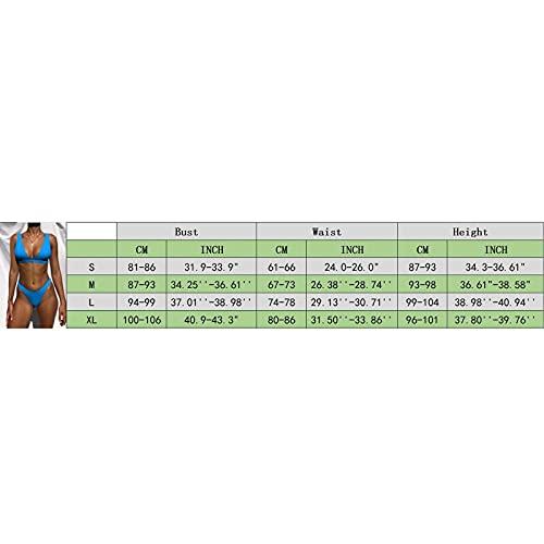 APOKIOG Bikini para mujer con triángulo ancho bajo el pecho, acanalado, dos piezas, estilo Instagram, cintura alta, 2 piezas, color negro amarillo L