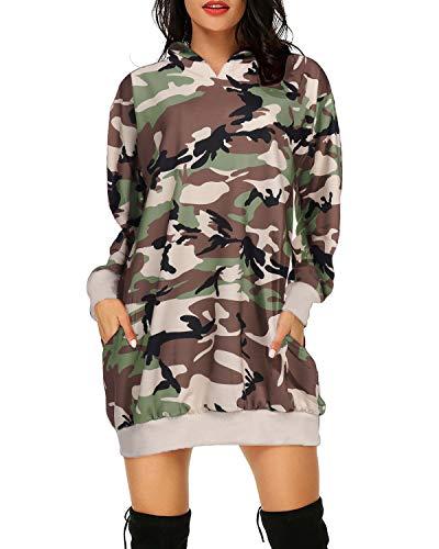 Auxo Damen Kapuzenpullover Camouflage Pullover Mini Kleider Sweatshirt Tunika Tops 002-Printed Tarnung Large