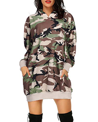 Auxo Damen Hoodies Kleid Pullover Langarm Camouflage Sweatshirt Mini Kleider Tunika Tops Tarnung Medium