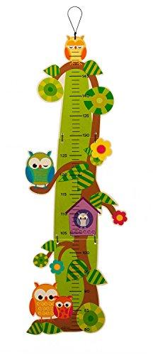 Hess Holzspielzeug 14623 - Messlatte aus Holz für Kinder, Serie Eule, aus Holz, handgefertigt, klappbar, geeignet für eine Körpergröße von ca. 80 bis 150 cm