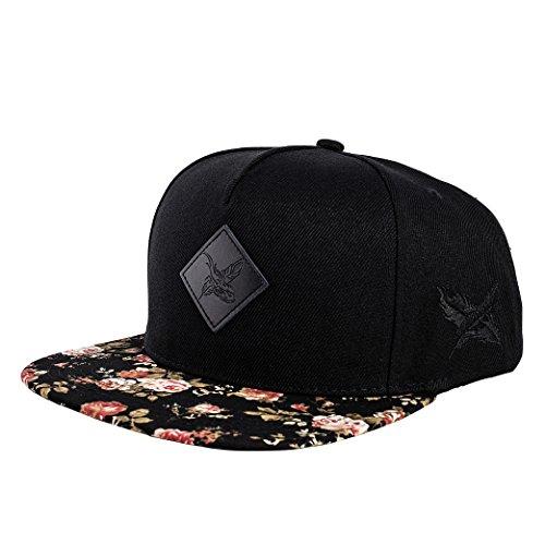 Blackskies Snapback Cap mit Stick oder Floralen Muster Unisex Baseball Mütze, Black Beauty Vol. II, Einheitsgröße