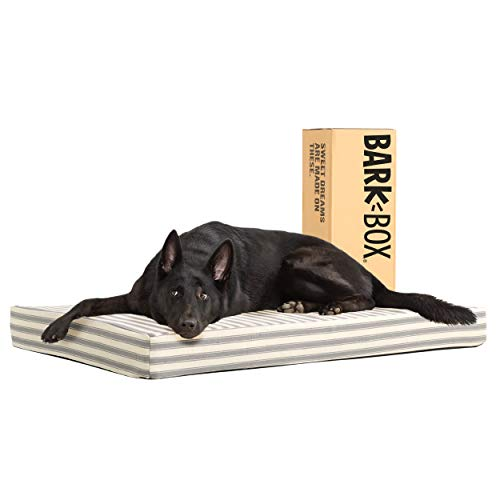 Barkbox Memory Foam Platform Dog Bed | Plush Mattress for Orthopedic Joint Relief | Machine Washable Cuddler with Removable Cover and Water-Resistant Lining | (X-Large, Stripe)