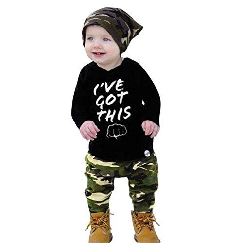 Longra 2 stuks baby jongens T-shirt, sweatshirt met capuchon, lange mouwen, ronde hals, camouflage, chic, blouse, T-shirt, capuchon, tops en broek, outfits