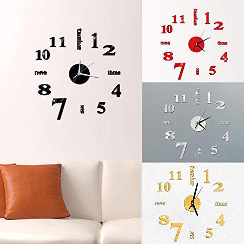 beiguoxia Nórdico Simple Creativo Elegante Números Modernos Letras 3D Reloj De Pared Pegatina DIY Sala De Estar Arte Colgante Decoración Rojo