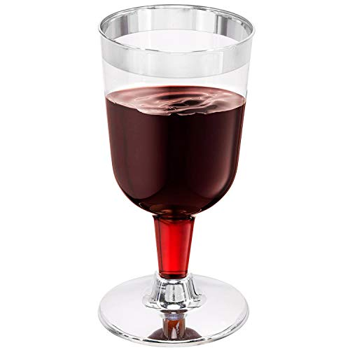 50 PACK Silver Plastic Wine Cups, Disposable Wine Glasses with Silver Rim 6 Oz, Ideal for Party, Wedding, Celebration