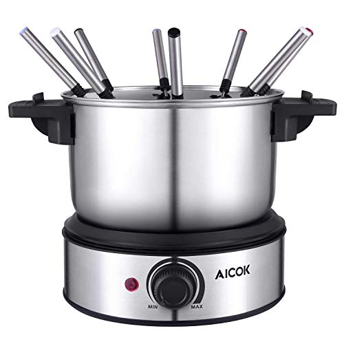 Fondue Pot Electric, 12-Cup Stainless Steel, 8 Color Fondue Forks and Removable Pot Electric Fondue...