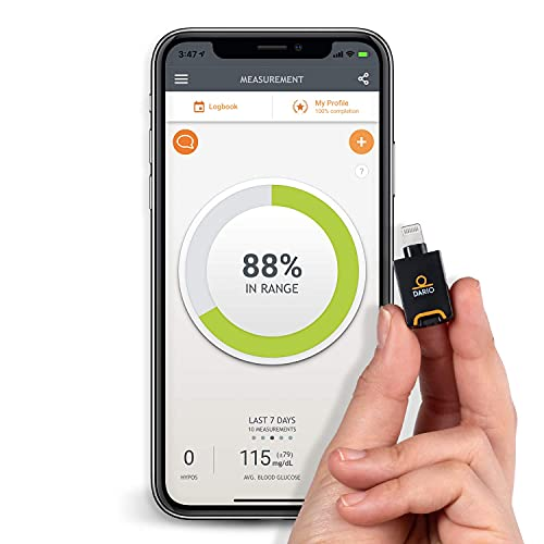 Dario Blood Glucose Monitor Kit Test Your Blood Sugar Levels and Estimate A1c. Kit Includes: Glucose-Meter with 25 Strips,10 Sterile lancets and 10 Disposable Covers (iPhone)