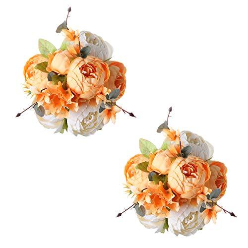 Tifuly 2 mazzi di peonie Artificiali, Bouquet di Fiori Vintage di peonie di Seta realistiche per la Decorazione Domestica del Partito dell'ufficio di Nozze, composizioni Floreali(New Orange White)