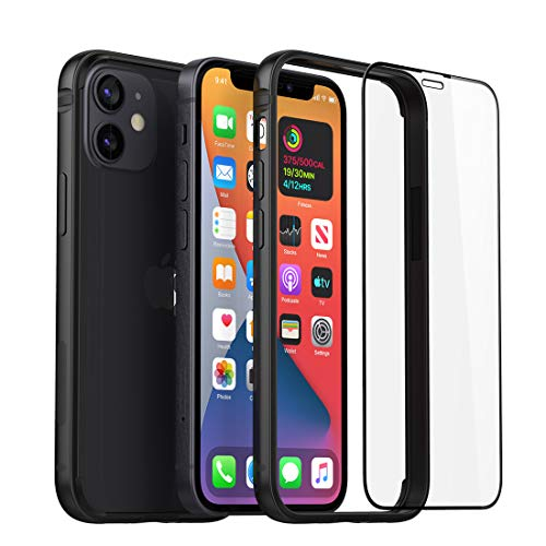 Slim Metal Bumper Case Compatible with iPhone 12 Mini, Bumper Phone Case Soft TPU Inner [No Signal Interference][Support Wireless Charging] with Screen Protector Compatible for iPhone 12 Mini, Black