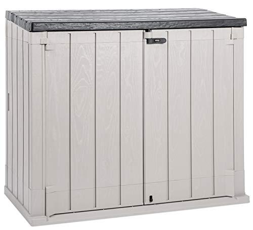 Storaway 1270L Outdoor Garden Plastic Storage Shed Box - Grey & Black (Black LID) - 145 x 85 x 124.5 cm, Ideal For 2 x 240L wheelie bins, Large Garden Tools & Equipment, Lawn Mowers or Bikes