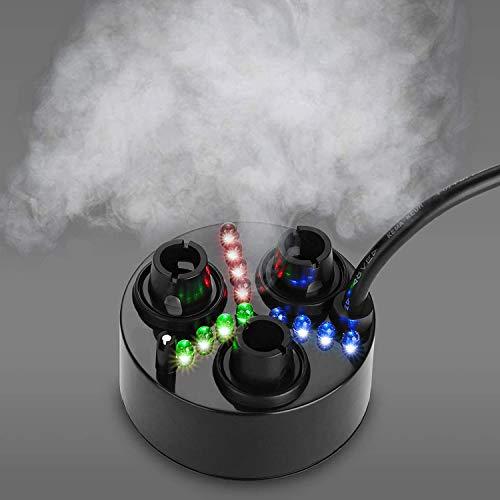 FITNATE 3 Kopf Ultraschall Nebelmaschine Fogger Kunststoff Zerstäuber Luftbefeuchter 1500 ml/h mit 6 Ersatz Zerstäuberscheiben für Wasserfontäne Teich Aquarium Steingarten Waschbecken